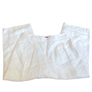 J Crew white lined linen blend wide cropped pants